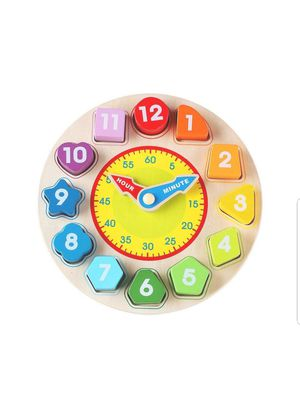 Kid toy Wooden Shape Sorting Clock New Sealed unopened see photos for Sale in Silver Spring, MD