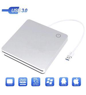 USB 3.0 External DVD CD Drive Writer/Rewriter/USB CD Burner for MacBook Pro Laptop/Desktops/Win 7/8.1/10 (Silver) for Sale in Fontana, CA