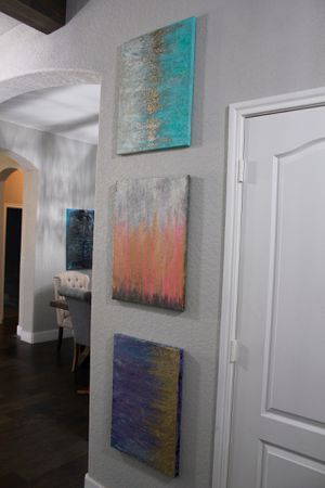 Abstract Wall Art 3 -burlap panels with acrylic paint and glitter for Sale in San Antonio, TX