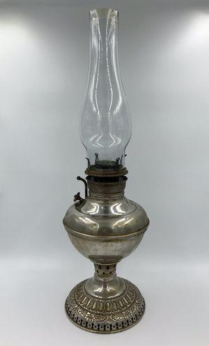 Antique 19th C. Edward Miller Lamp Co. Victorian Nickel Kerosene Oil Table Lamp for Sale in Hurst, TX