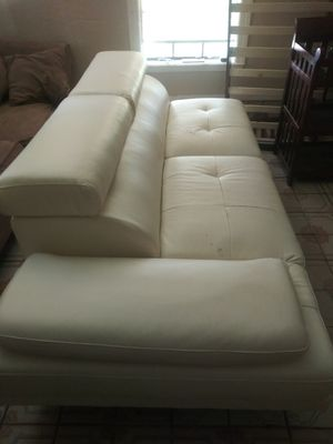 BEAUTIFUL WHITE FAUX LEATHER COUCH for Sale in Dallas, TX