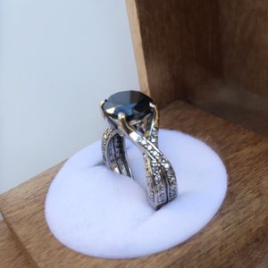 White gold ring black stone real diamonds for Sale in South Gate, CA