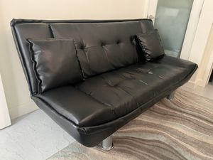 Black Leather Futon- MOVING TOMORROW- must pick up today or latest tomorrow morning!! for Sale in Los Angeles, CA