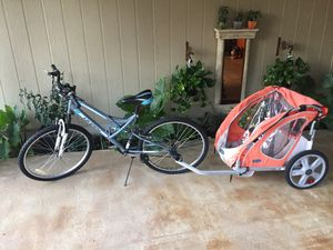 Bike with kids trailer for Sale in Dallas, TX