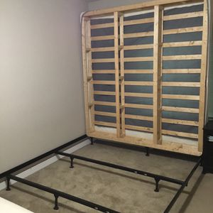 King Size Wood Box Spring + Metal Bed Frame for Sale in Bellevue, WA