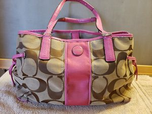 Authentic Coach Purse Tote Bag Signature Stripe Pink Trim ~ Damaged for Sale in Raleigh, NC