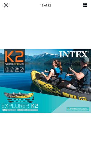 Intex Explorer K2 Kayak, 2-Person Tandem Inflatable Set with Oars and Air Pump for Sale in Norwalk, CA