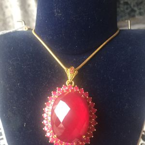 Ruby necklace with gold plated chain for Sale in Brooklyn, NY