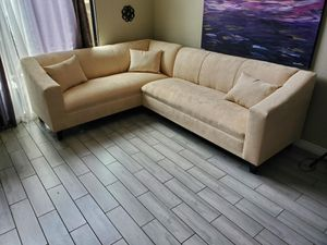 NEW 7X9FT GIBSON CREAM FABRIC SECTIONAL COUCHES for Sale in Yucca Valley, CA