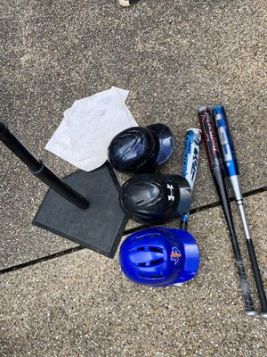 Baseball bats, helmets & Tee for Sale in Round Rock, TX