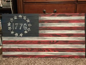 Rustic aged distressed First American Flag made from wood for Sale in Monroe, NC
