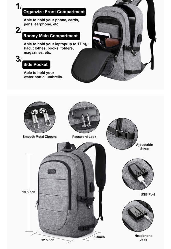 Backpack with external USB port, headphone jack