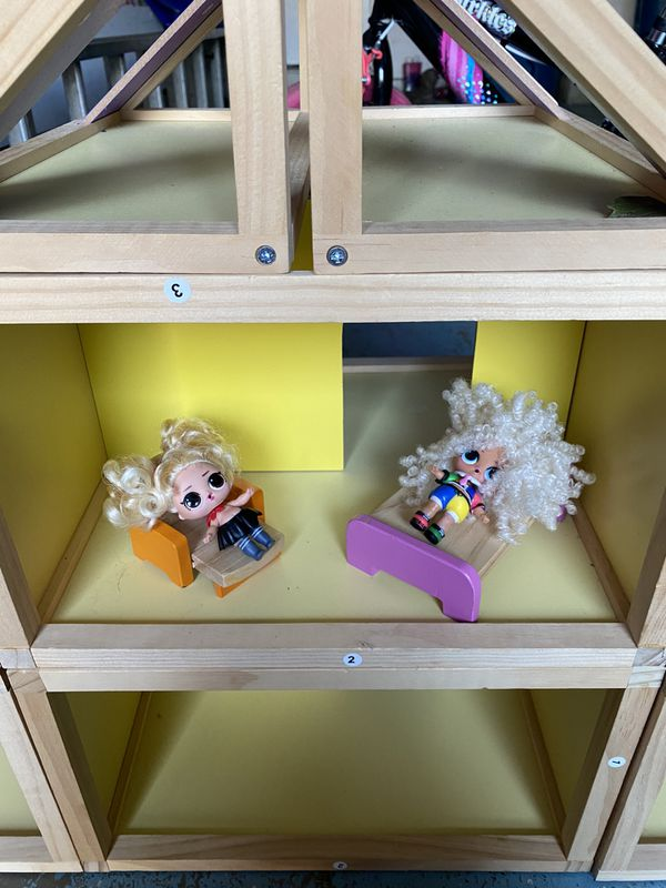 Wooden doll house perfect for lol dolls