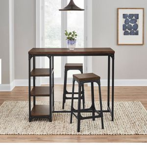 StyleWell Black Metal 3 Piece Dining Set with Haze Oak Finish Wood Top (53 in. W x 24.88 in. H) for Sale in Frisco, TX