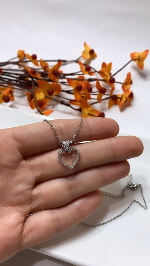 **NO FADE** Real Gold Plated Rhinestone Heart Pendant Necklace Full Diamond Crystal, Silver Color for Sale in Los Angeles, CA