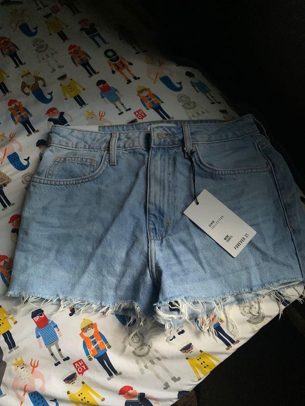 Fringed mom shorts