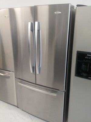 Whirlpool French doors stainless steel refrigerator used good condition 90days warranty for Sale in Mount Rainier, MD
