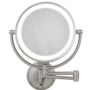 Zadro 10X/1X Dual-Sided Round LED Lighted Wall Mount Mirror in Satin Nickel for Sale in Gainesville, FL