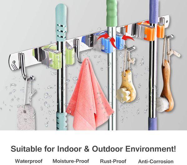 KURTVANA Mop Broom Holder Wall Mount Organizer Storage, Easy Install Screws or Self Adhesive Stainless Steel Tools Hanger