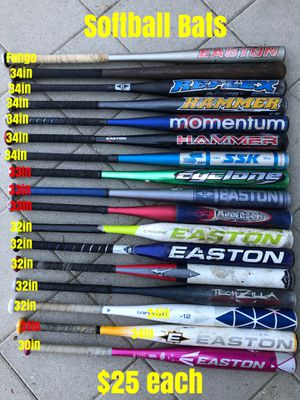 Softball gloves easton Rawlings demarini equipment bats $25 for Sale in Los Angeles, CA