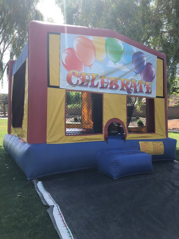 Water slides and bouncy house