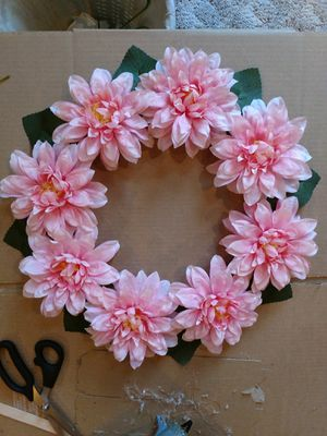 PINK FLORAL HANDMADE WREATH MOTHER'S DAY GIFT for Sale in Vidalia, GA