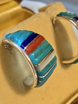 Vintage Native American Sterling Silver Turquoise Red Coral Lapis Moonstone pierced Earrings for Sale in Tampa, FL