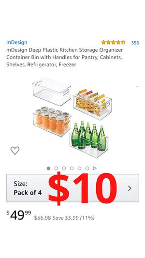 mDesign Deep Plastic Kitchen Storage Organizer Container Bin with Handles for Pantry, Cabinets, Shelves, Refrigerator, Freezer for Sale in Ontario, CA