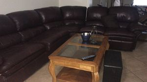 Sectional brown leather for Sale in Orlando, FL