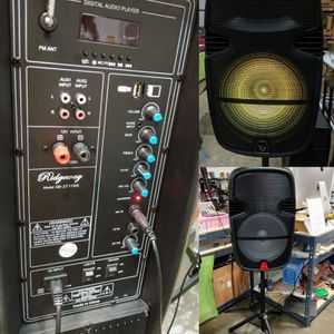 """Dual 15"""" Rechargeable Speaker Party Dance Music Entertainment Stereo Karaoke System with Trolley for Sale in Montclair, CA"""