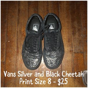 Vans Silver and Black Cheetah Shoes for Sale in Pueblo, CO