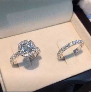 925 Sterling Silver Engagement/ Wedding Cushion Style Diamond Ring Set for Sale in Dallas, TX