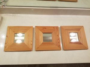 Wood frame mirror wall art - 3 pc for Sale in Austin, TX
