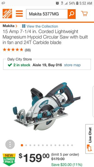 15 Amp 7-1/4 in. Corded Lightweight Magnesium Hypoid Circular Saw with built in fan and 24T Carbide blade for Sale in Escondido, CA