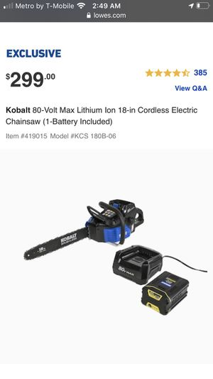 80v Kobalt Chainsaw for Sale in Portland, OR