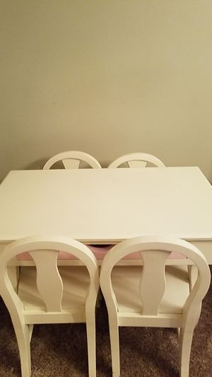 Kids desk. White with pink drawer and 4 chairs!! for Sale in Asbury Park, NJ