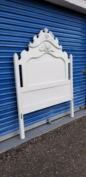 Full size vintage headboard. Off white distressed shabby chic style. for Sale in Phoenix, AZ