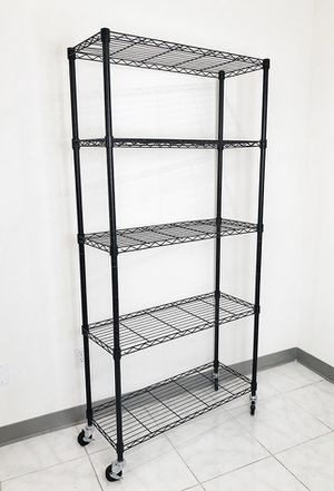 "$70 NEW Metal 5-Shelf Shelving Storage Unit Wire Organizer Rack Adjustable w/ Wheel Casters 36x14x74"" for Sale in Pico Rivera, CA"