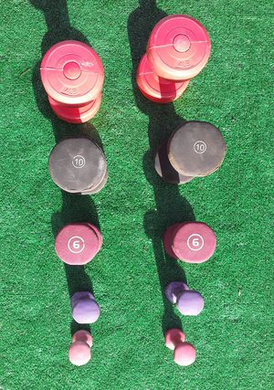 46lbs Dumbell Weights 2x10lbs 2x6lbs 2x4lbs 2x2lbs 2x1lbs for Sale in Hollywood, FL