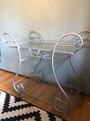 Glass & Metal Bar Cart for Sale in Sammamish, WA