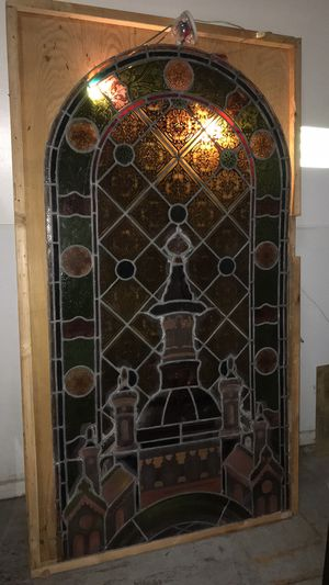 Antique hand painted stained glass panel for Sale in East Saint Louis, IL