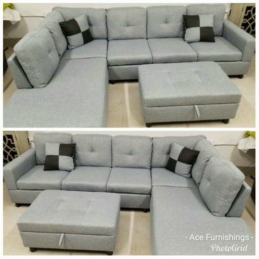 Brand New Light Grey Linen Sectional With Storage Ottoman