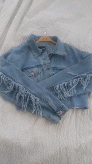 Cute womens fringe denim jacket for Sale in Kansas City, MO