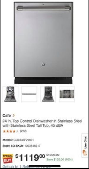 GE Cafe 24 in. Top Control Tall Tub Dishwasher in Stainless Steel with Stainless Steel Tub- New for Sale in Herndon, VA