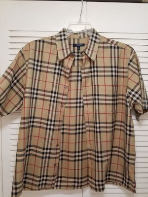 NEW Burberry check short sleeve button shirt AUTHENTIC made in UK for Sale in Fort Lauderdale, FL