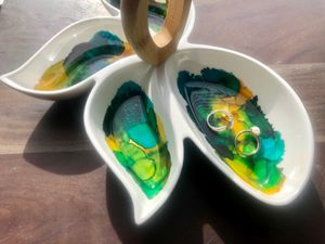 ceramic jewelry tray ring dish necklace organizer trinket alcohol ink and resin for Sale in Germantown, MD