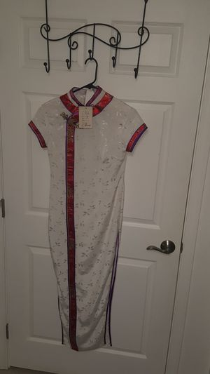 Chinese New Year Asian style dress vintage silk dress white dress for Sale in La Puente, CA