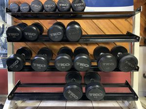 TKO Solid Steel Rubber Dumbbells 5, 15, 20, 25, 30, 35, 40, 45 and 50 lbs Pairs for Sale in Bellflower, CA