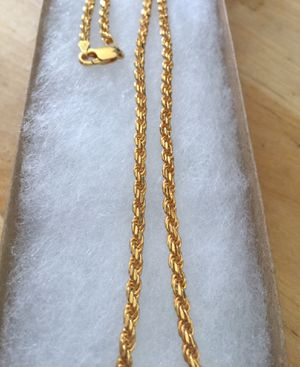 24 inch 925 Italian Sterling Silver rope chain plated with 24K gold for Sale in La Puente, CA
