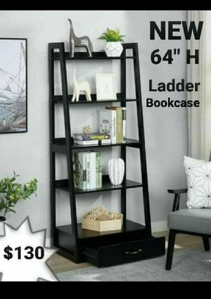 "64"" Black Wood 5-shelf Ladder Bookcase with Drawer for Sale in Chino, CA"